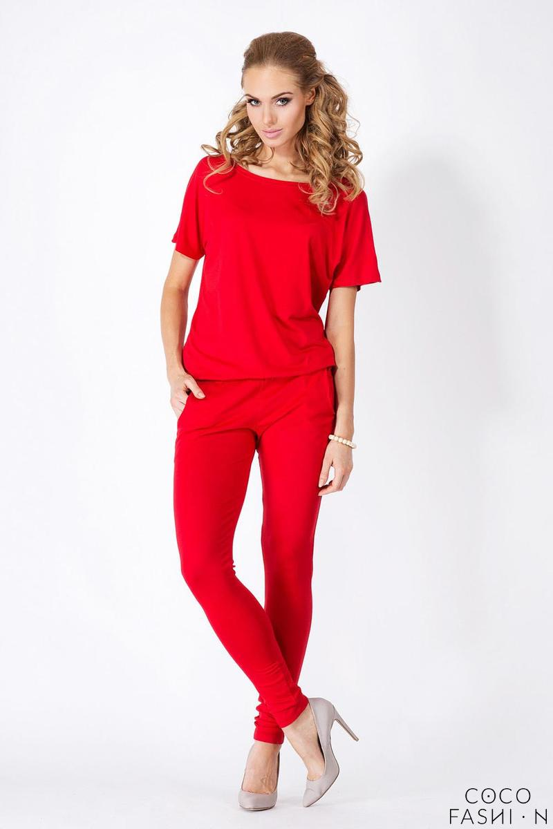Red Loose Top and Slim Pants Ladies Jumpsuit