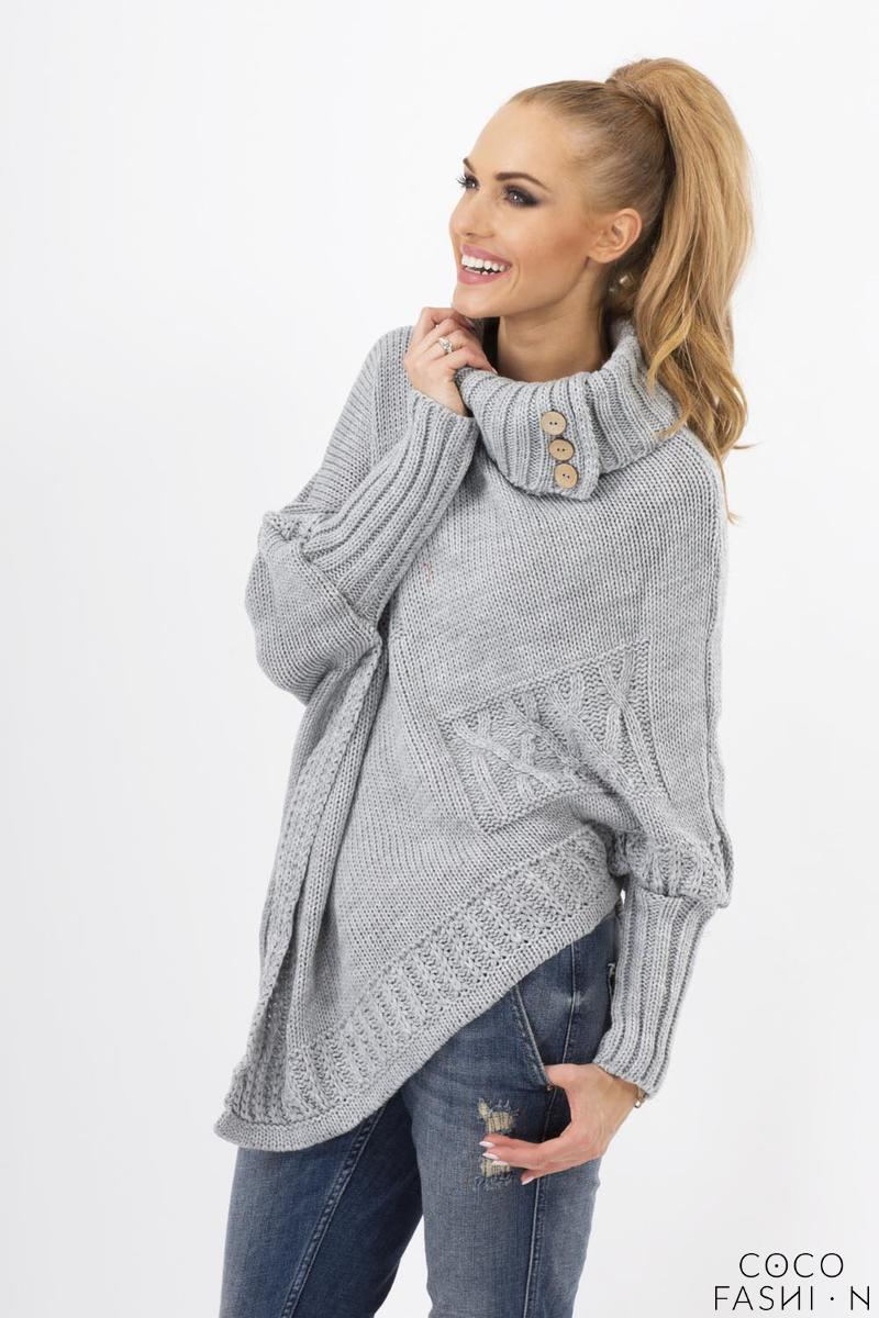 Grey Loose Asymetrical Tourtleneck Sweater