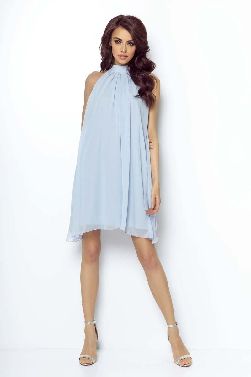 Blue Airy Cocktail Dress with a Halter Neckline on the Stand-up Collar