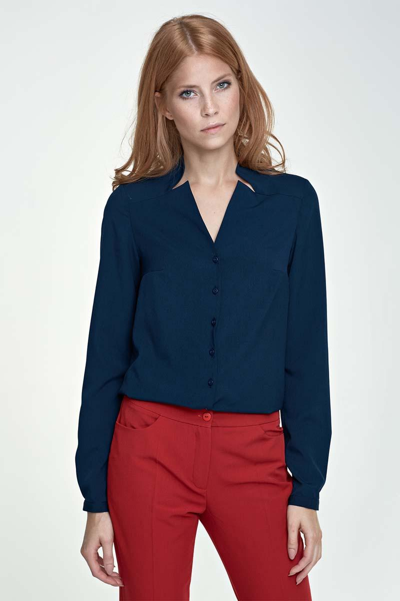 Dark Blue V-Neckline and Classic Collar Shirt