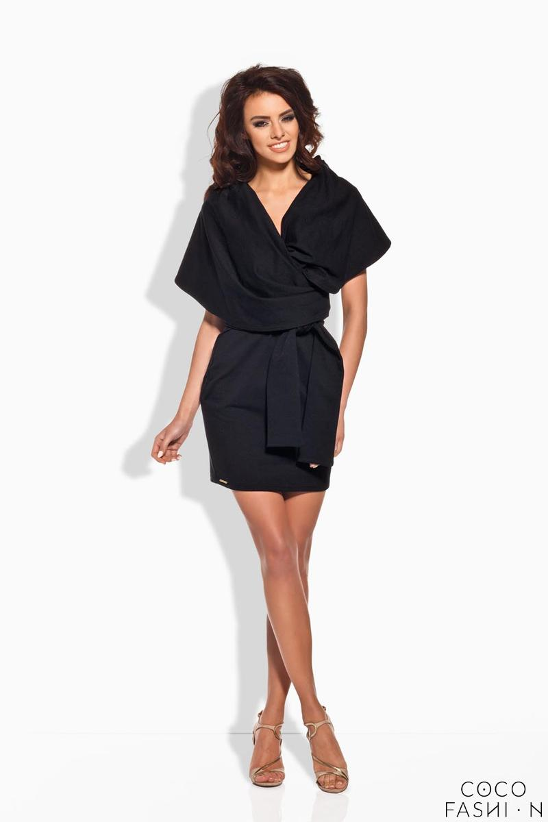 Black Self Tie Mini Dress