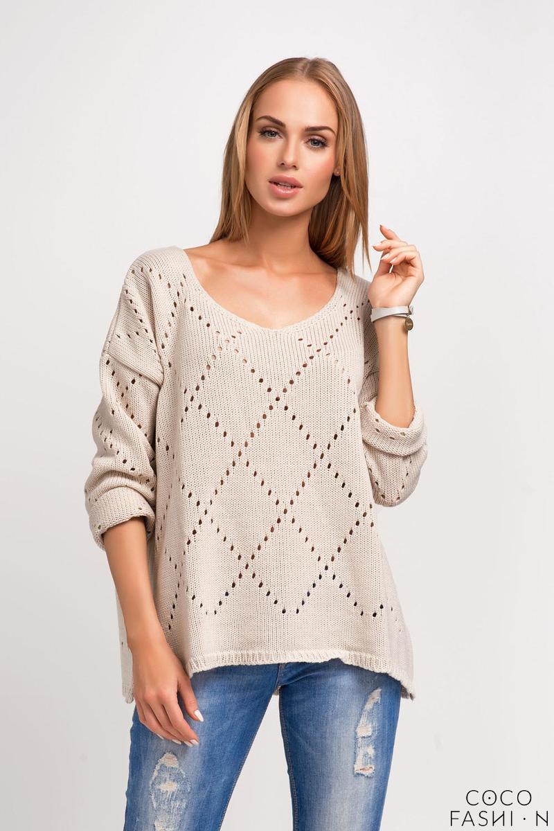 Beige Ajure Pattern Oversize Sweater от cocofashion