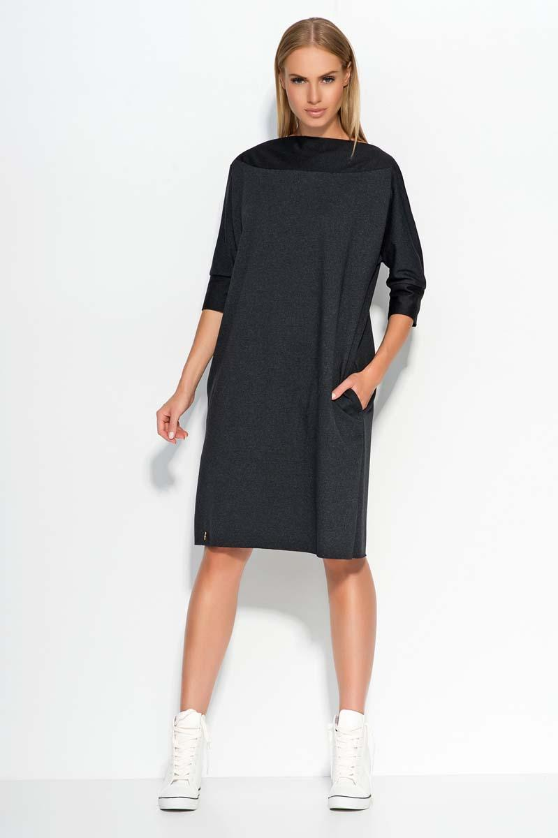 Dark Grey Oversized Casual Dress with Side Pockets