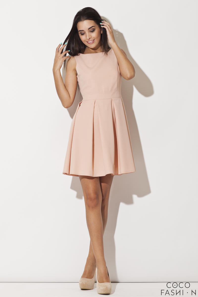 Pink Bateau Neck Pleated Skirt Dress with Back Zip Fastening