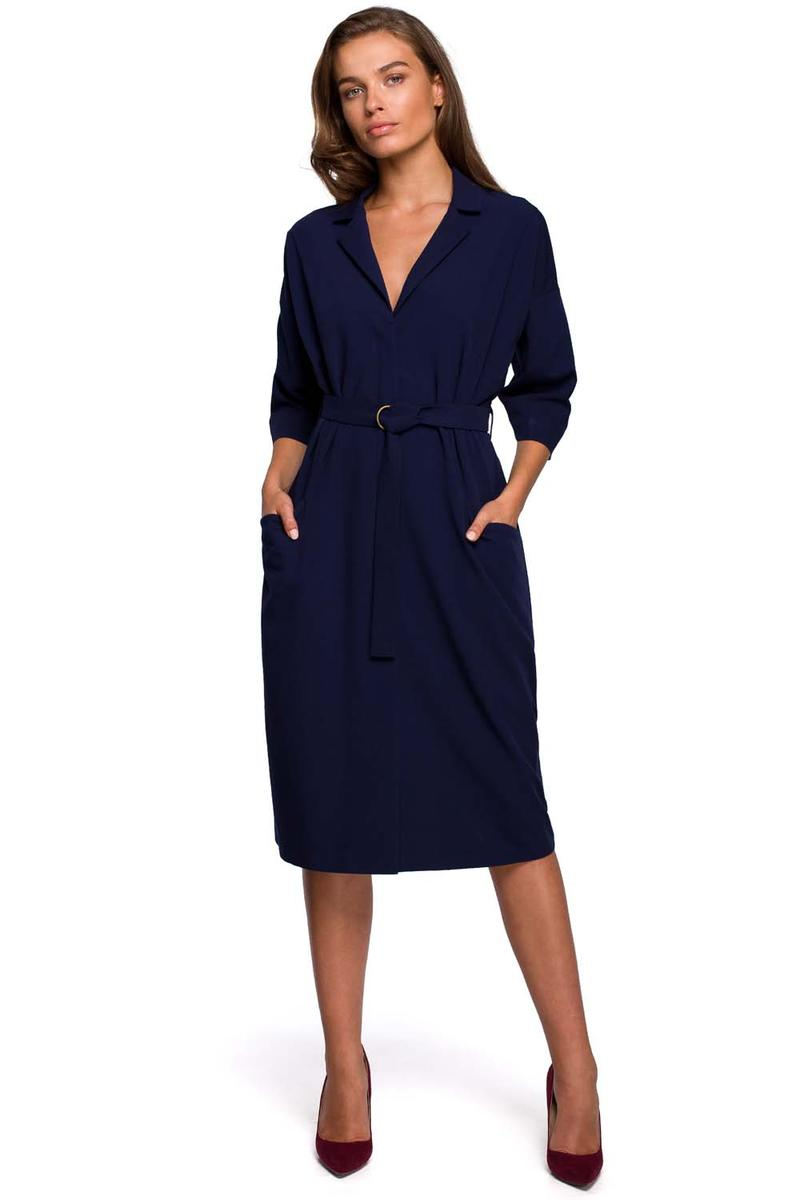 Dark Blue Belted Dress with Pockets