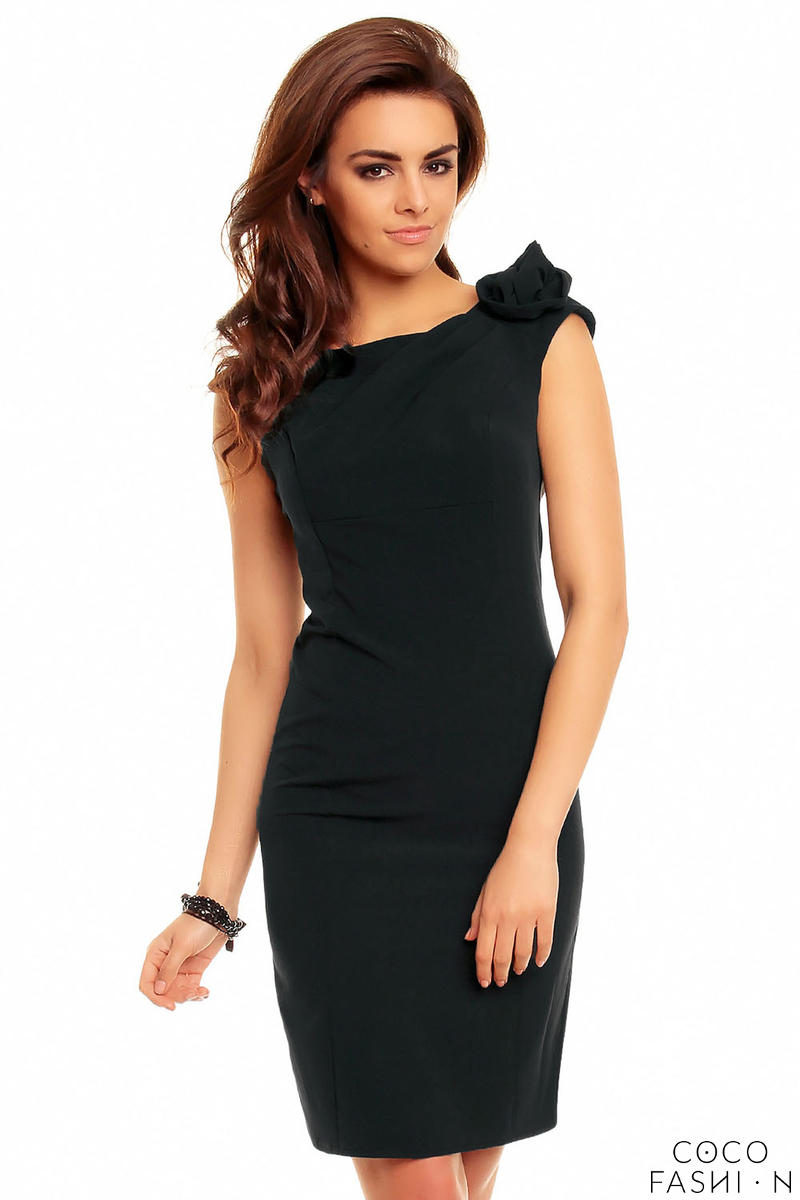 Black Elegant Fitted Dress with Decorative Flower от cocofashion
