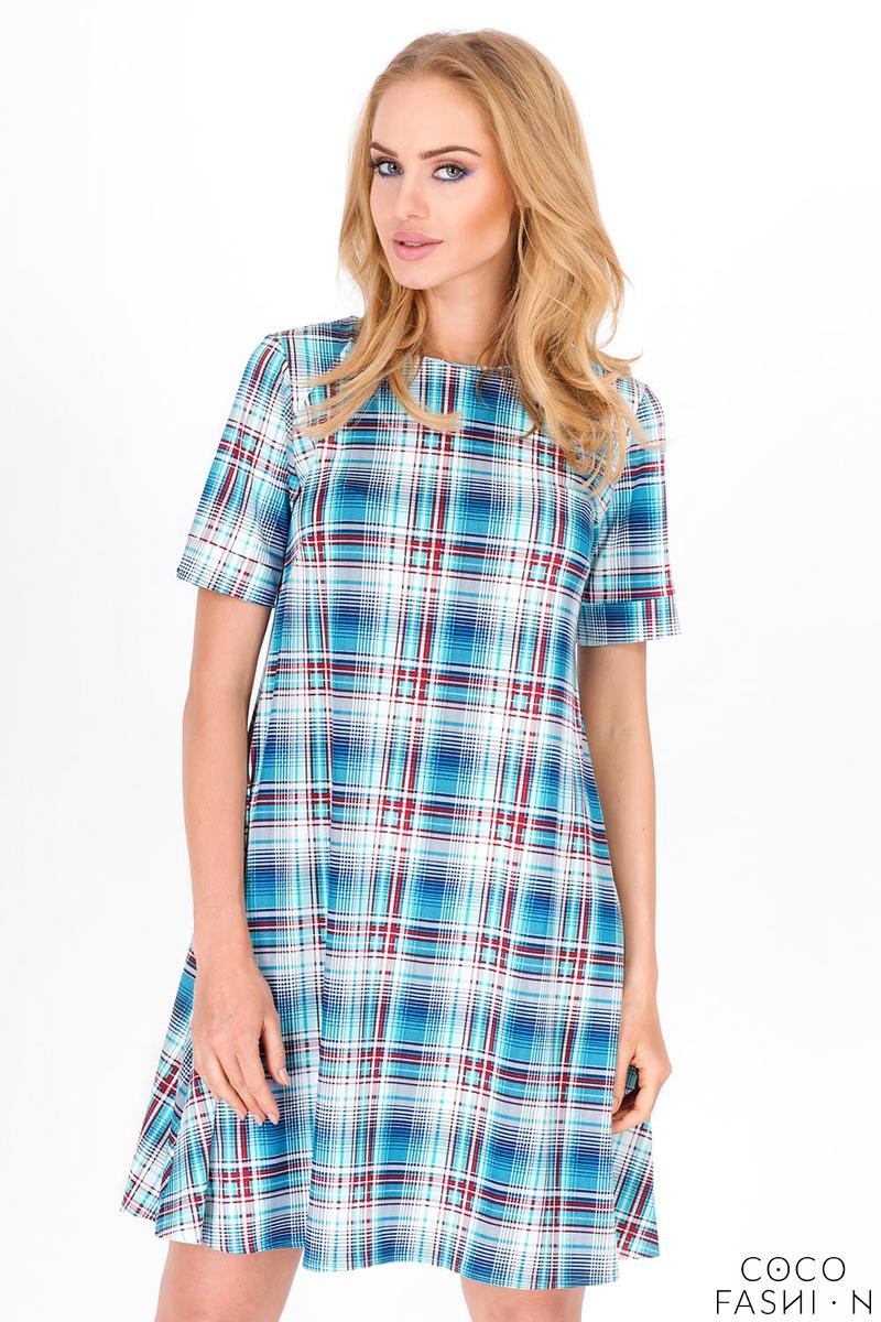 Light Blue Flared Plaid Pattern Short Sleeves Dress