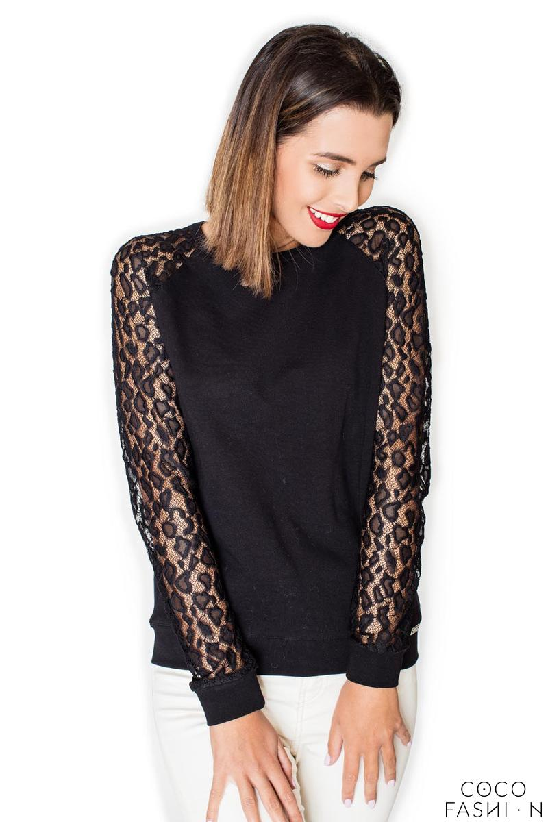Black Long Lace Sleeves Cut Out Back Blouse