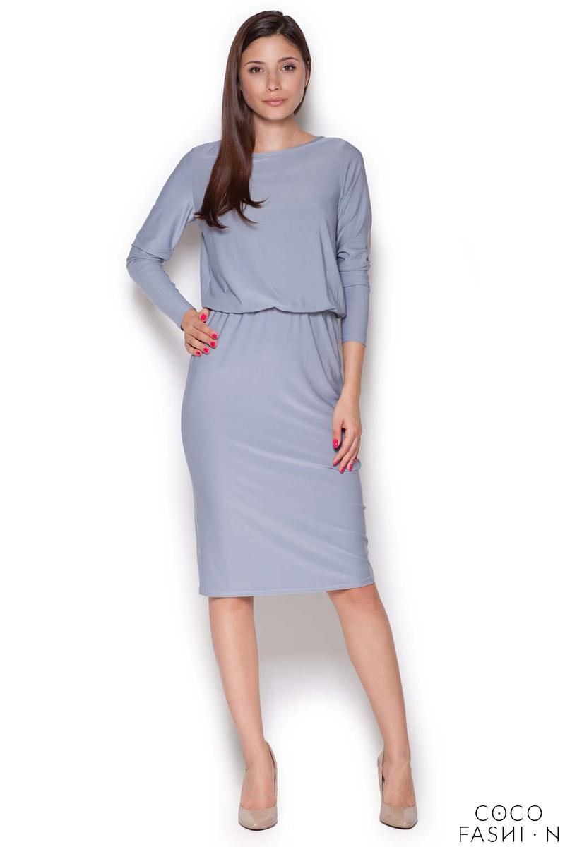 Grey Back Slit Knee Length Shift Dress