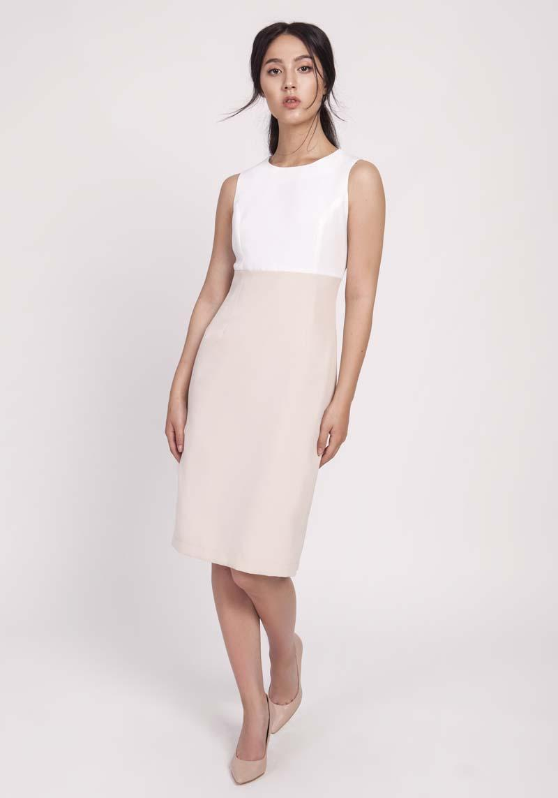 Beige Classic Pencil Dress Made of Combined Materials