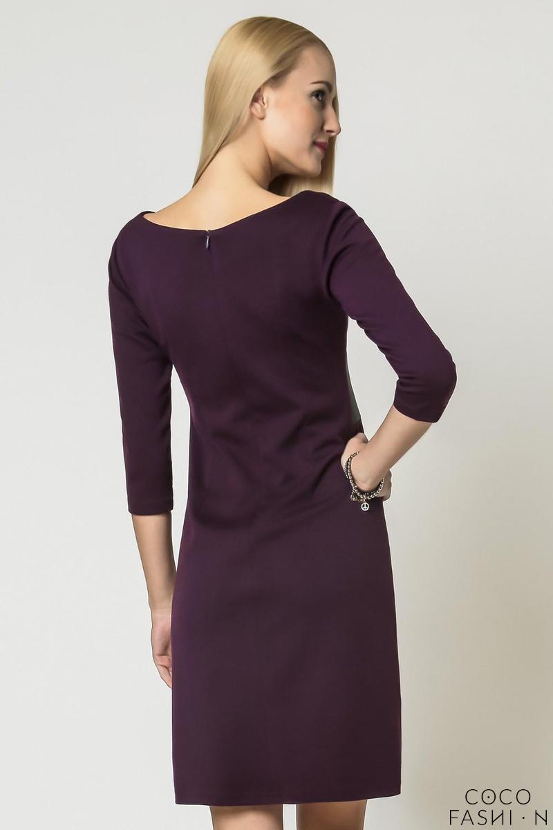 purple elegant eco leather black waist office dress