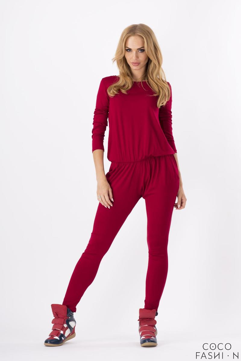 Maroon Comfortable Wrinkled Long Sleeves Jumpsuit