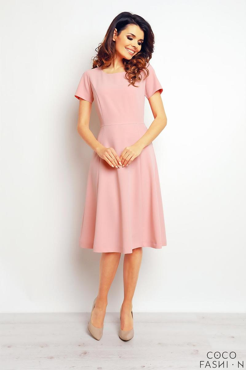 pink-short-sleeves-light-pleats-dress