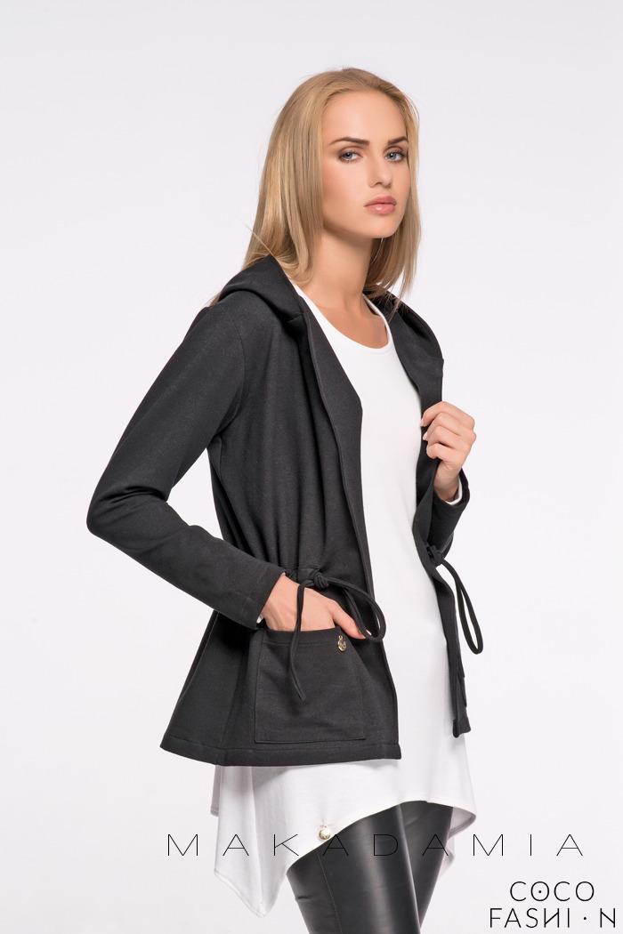 Black Drawstring Details Front Pockets Hoodie от cocofashion