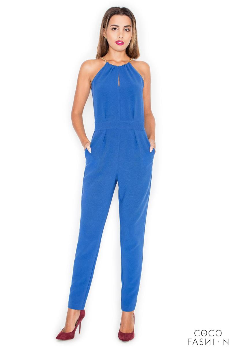 Blue Elegant Chain Halterneck Long Legs Jumpsuit