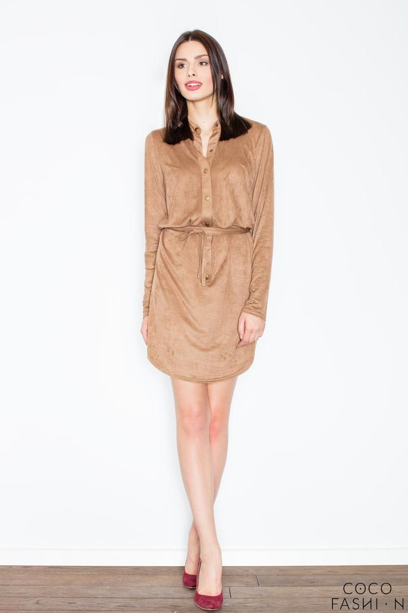 brown-snaps-closure-mini-dress