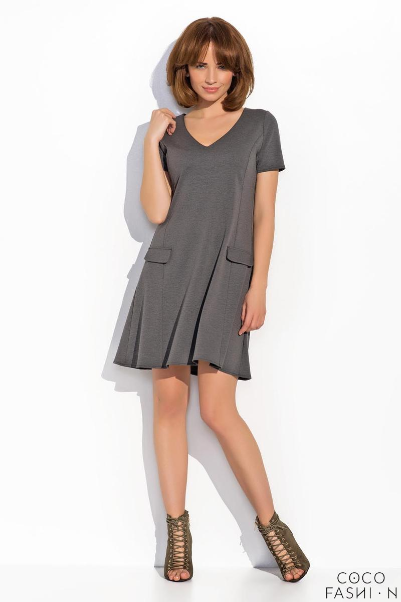 Dark Grey Flared V-Neckline Short Sleeves Dress