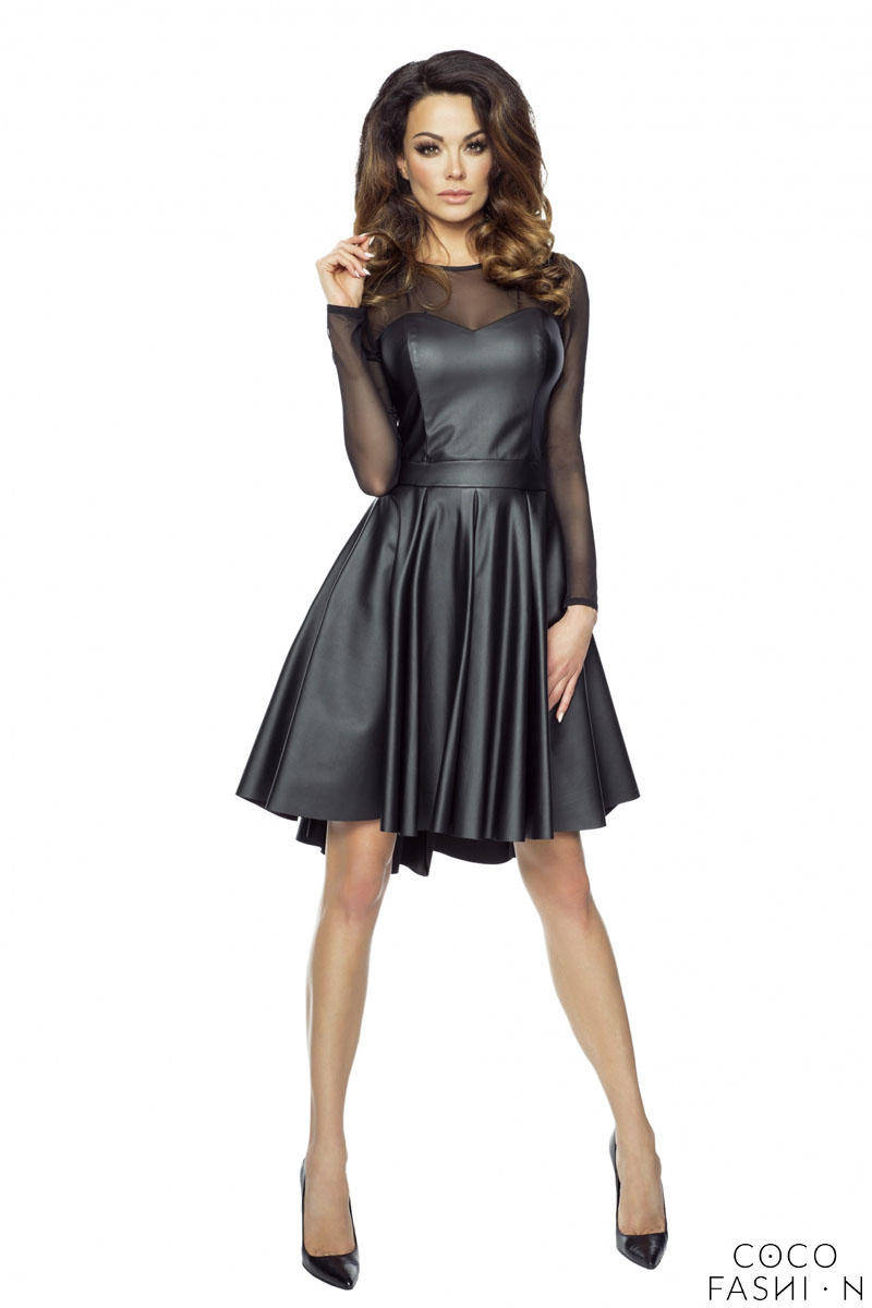 Black Leather Dress with Transparent Sleeves