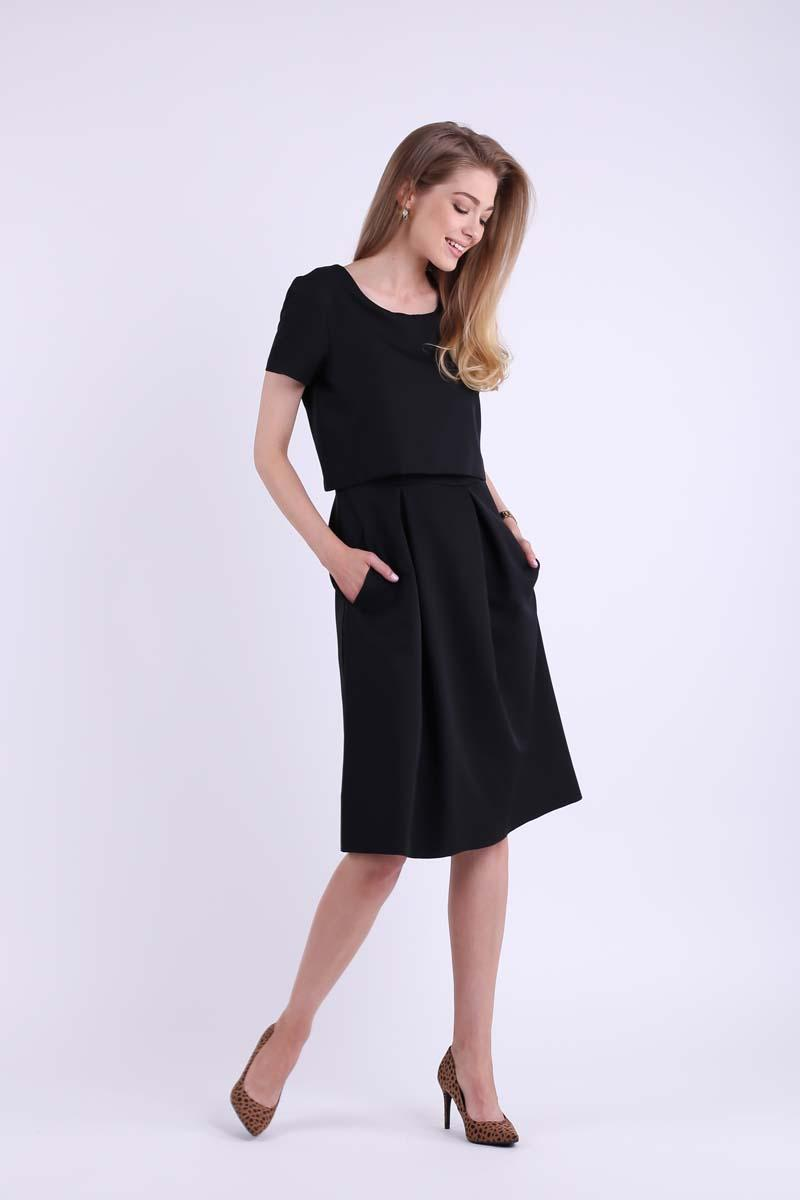 Black Formal Flared Dress with Overlay