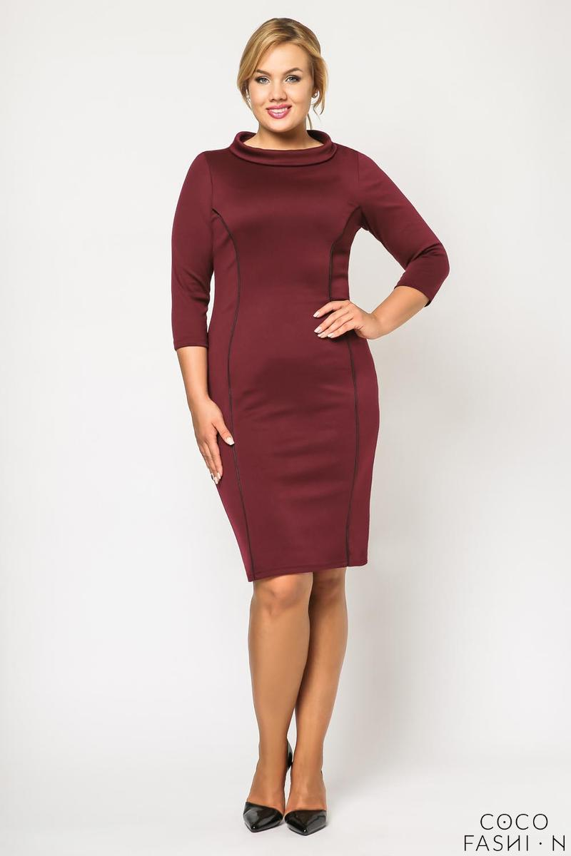 Maroon Elegant Slimming Dress PLUS SIZE