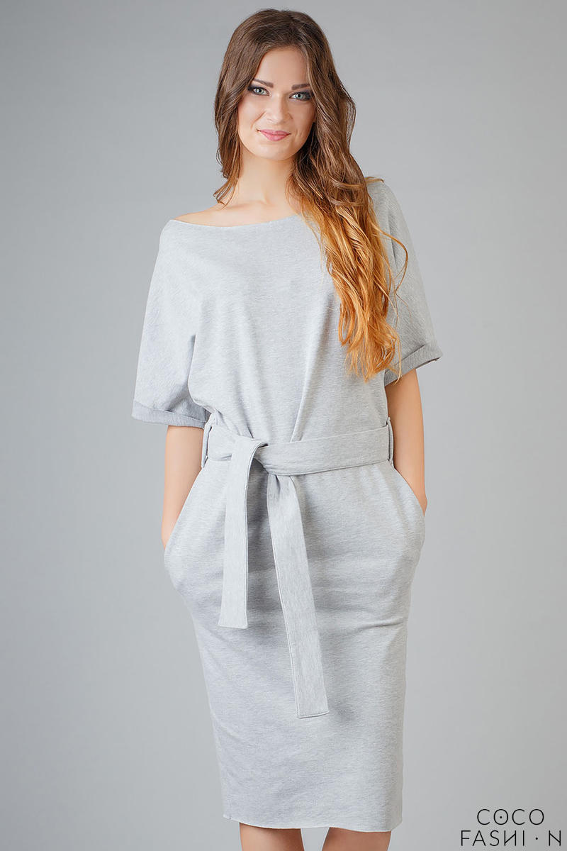 Light Grey Loose Neckline Self Tie Belt Casual Dress