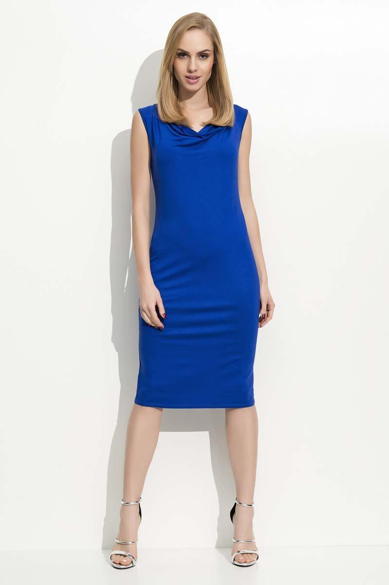 Blue Slim Fit Midi Dress with Waterfall Style Neckline