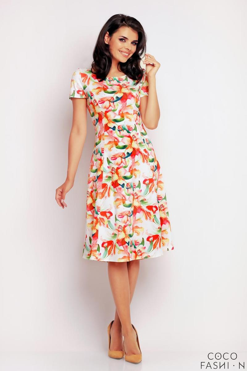 orange-floral-pattern-flared-short-sleeves-dress