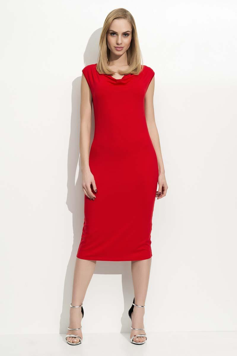 Red Slim Fit Midi Dress with Waterfall Style Neckline