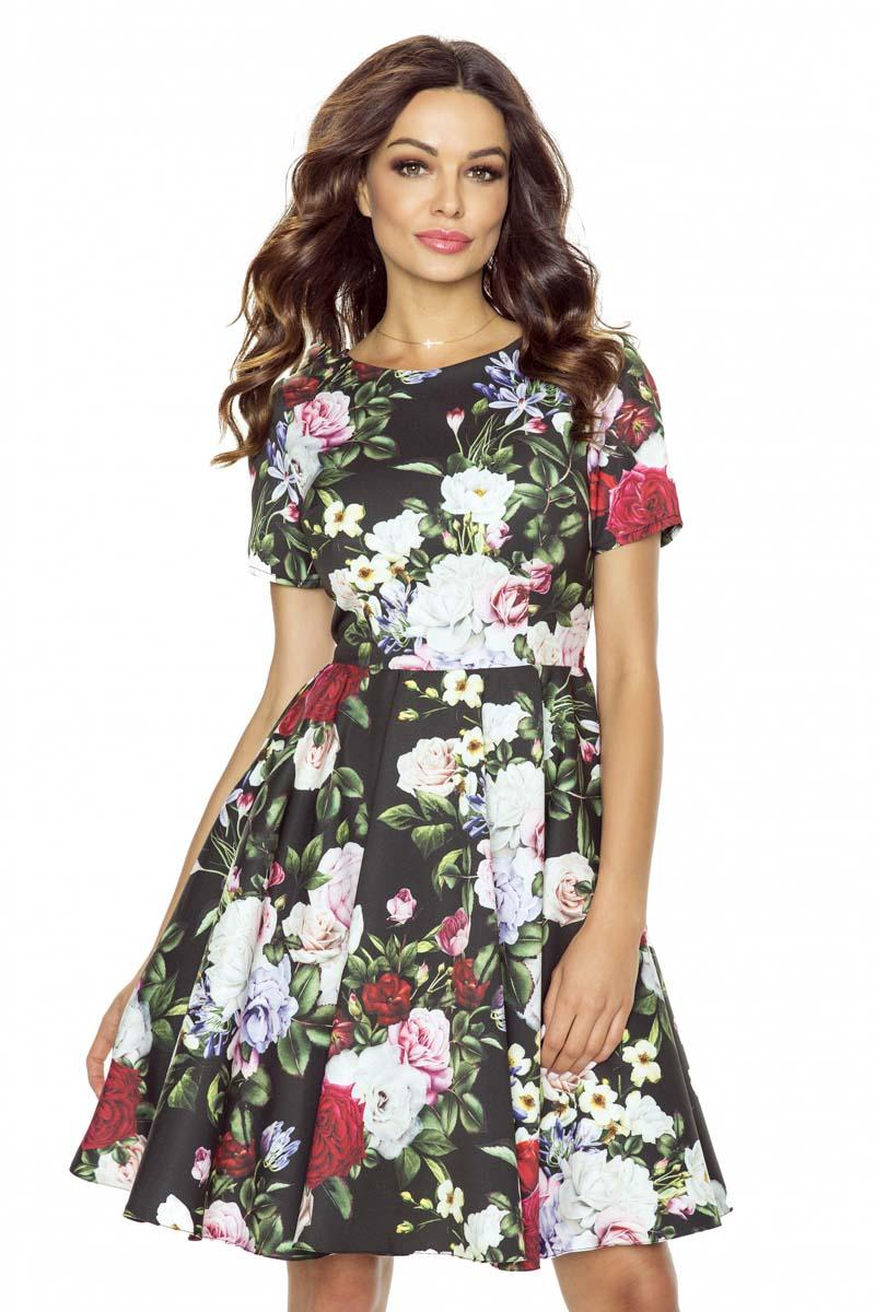 floral-pattern-flared-coctail-dress