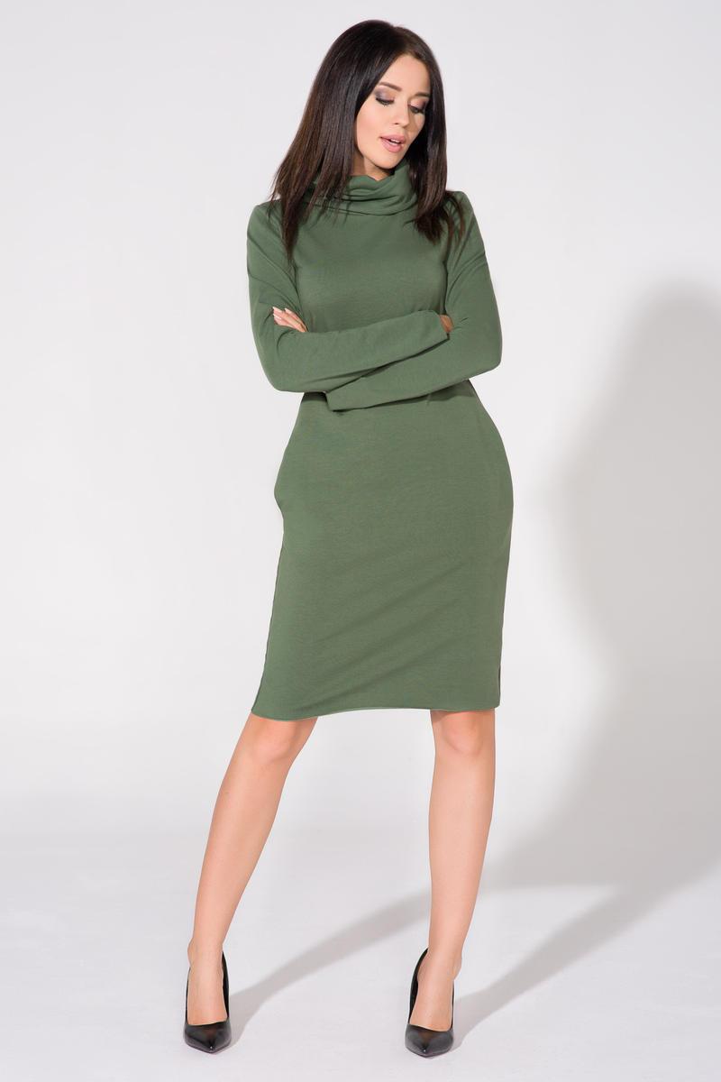green-casual-tourtleneck-dress