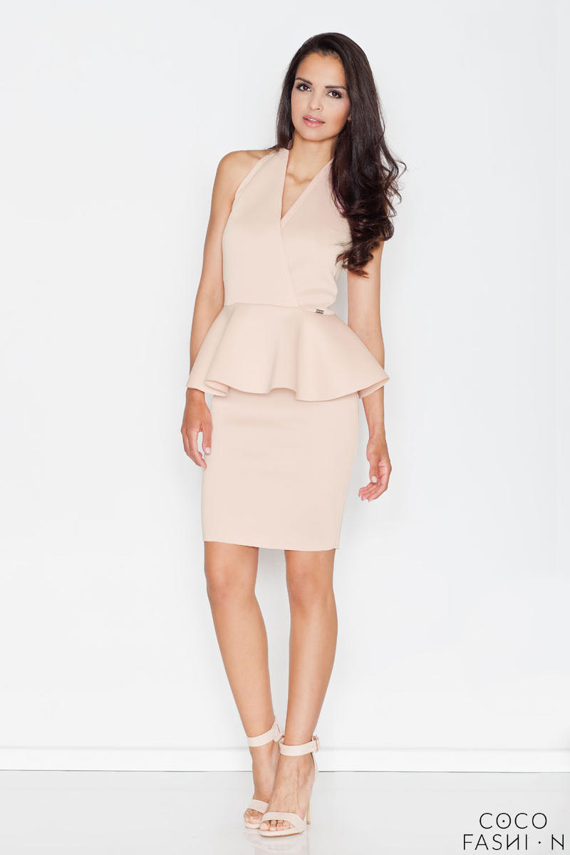 Beige Stylish Coctail Peplum Dress