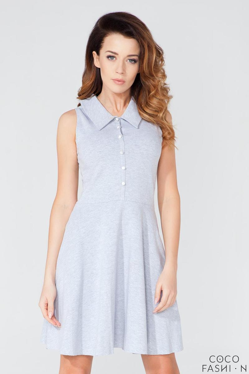 Light Grey Buttons Closure Casual Shirt Dress