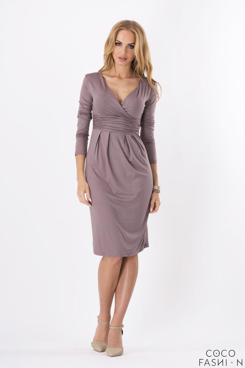 Cappuccino Elegant V- Neck Dress