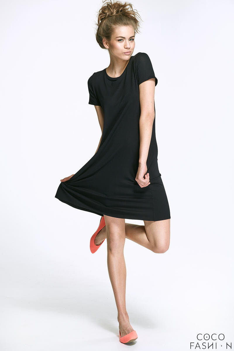 Black Flared Mini Dress with Bow at The Back