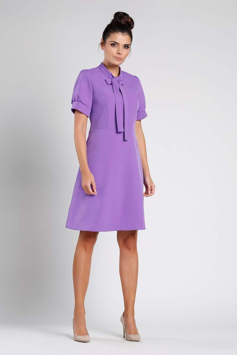 Purple Mini Flared Dress With Bow