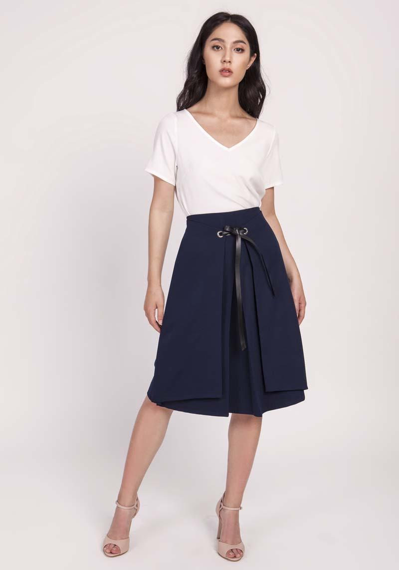 Navy Blue Trapezoid Skirt with Eco-Leather Ribbon