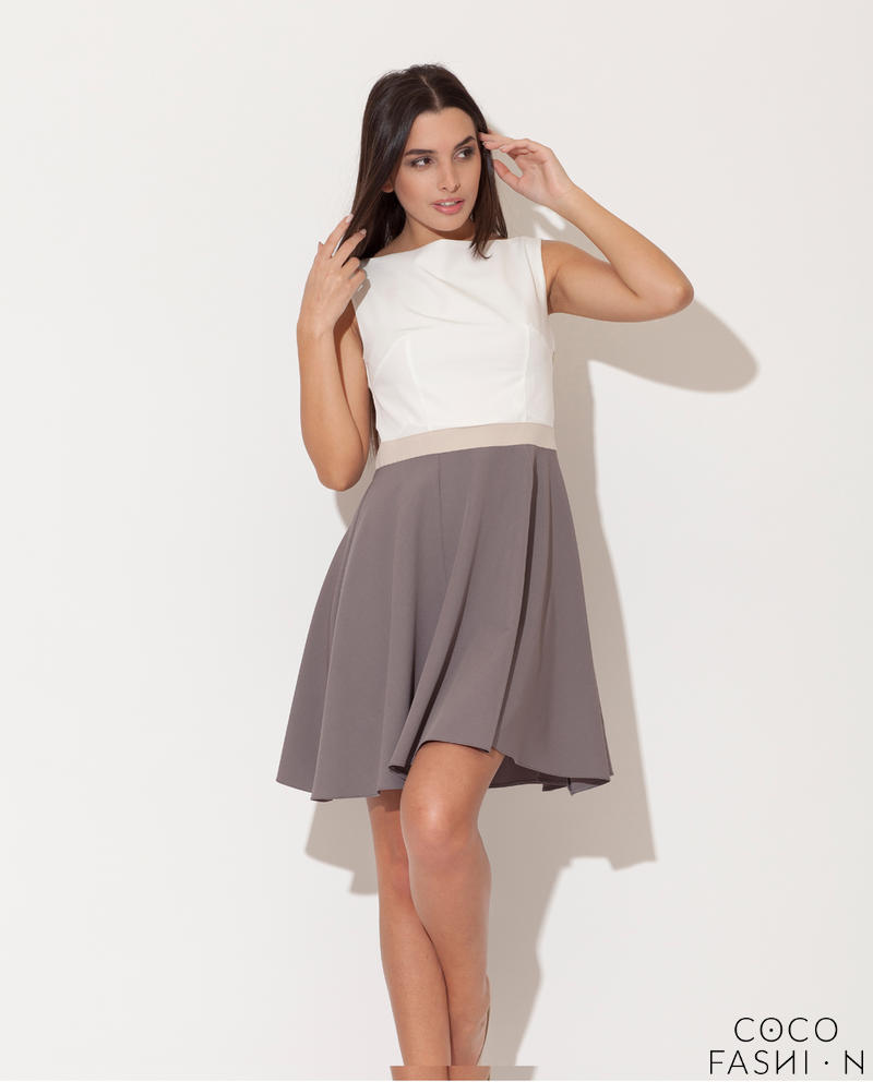 Grey Seam Bodice Flippy Dress with Contrast Belt