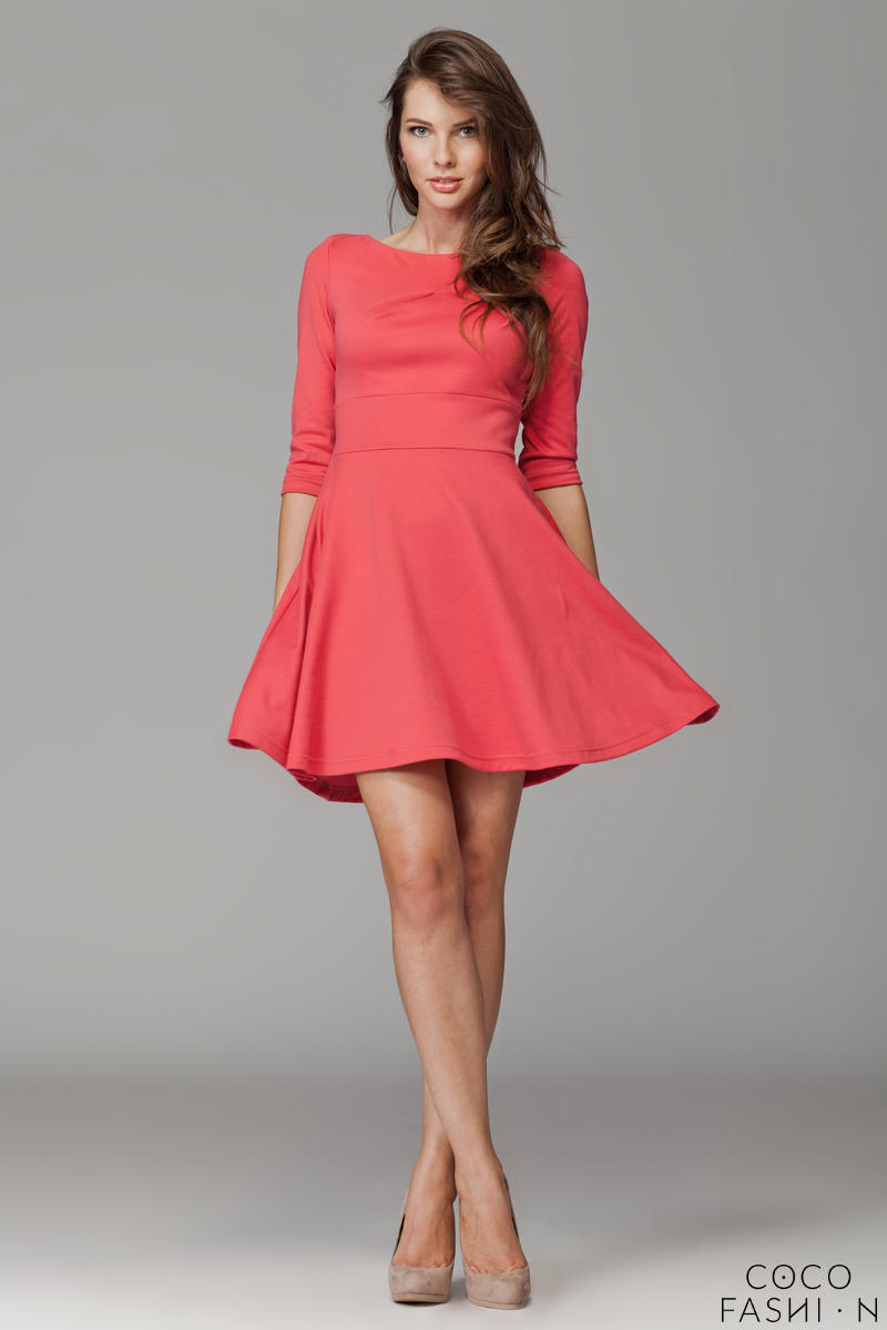 coral-giggly-fashion-flared-skirt-dress