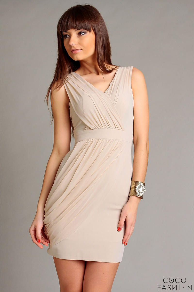 Beige Elegant Draped V-Neckline Mini Dress