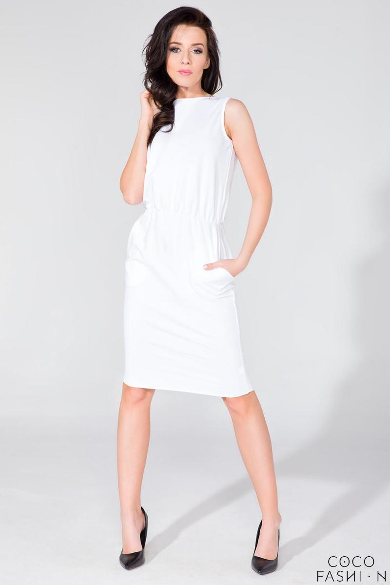 White Sleeveless Side Pockets Casual Dress