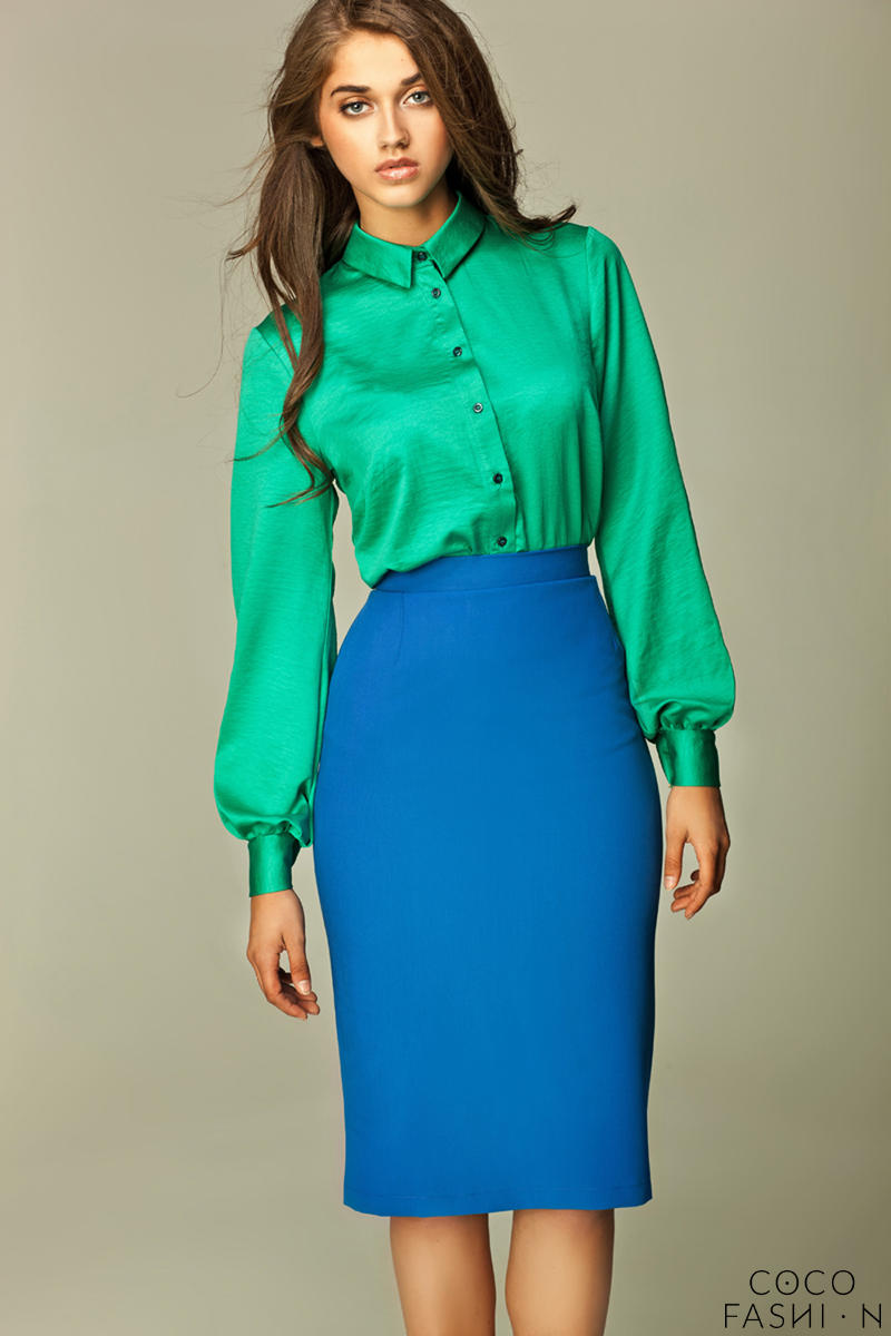 blue tea length pencil skirt