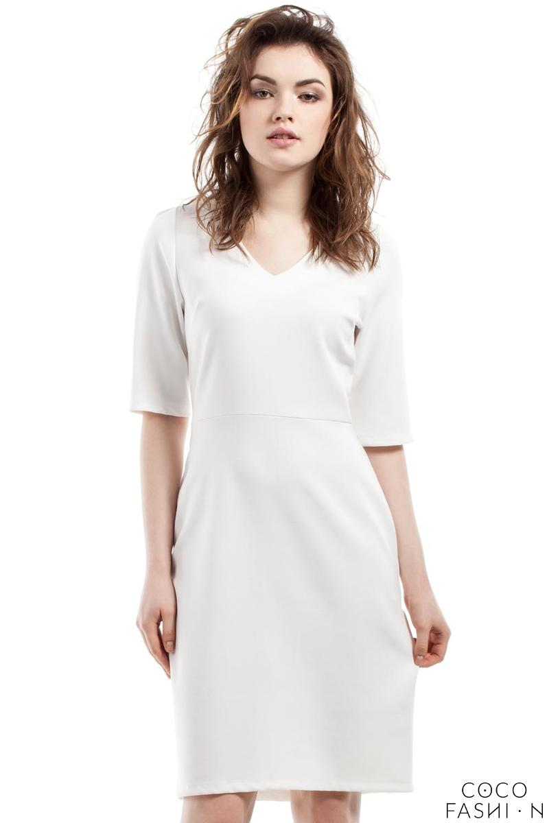 ecru-soft-office-style-knee-length-dress