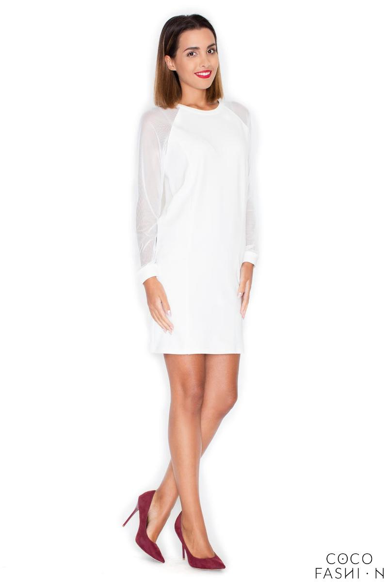 Ecru Casual Mini Dress with Transparent Sleeves