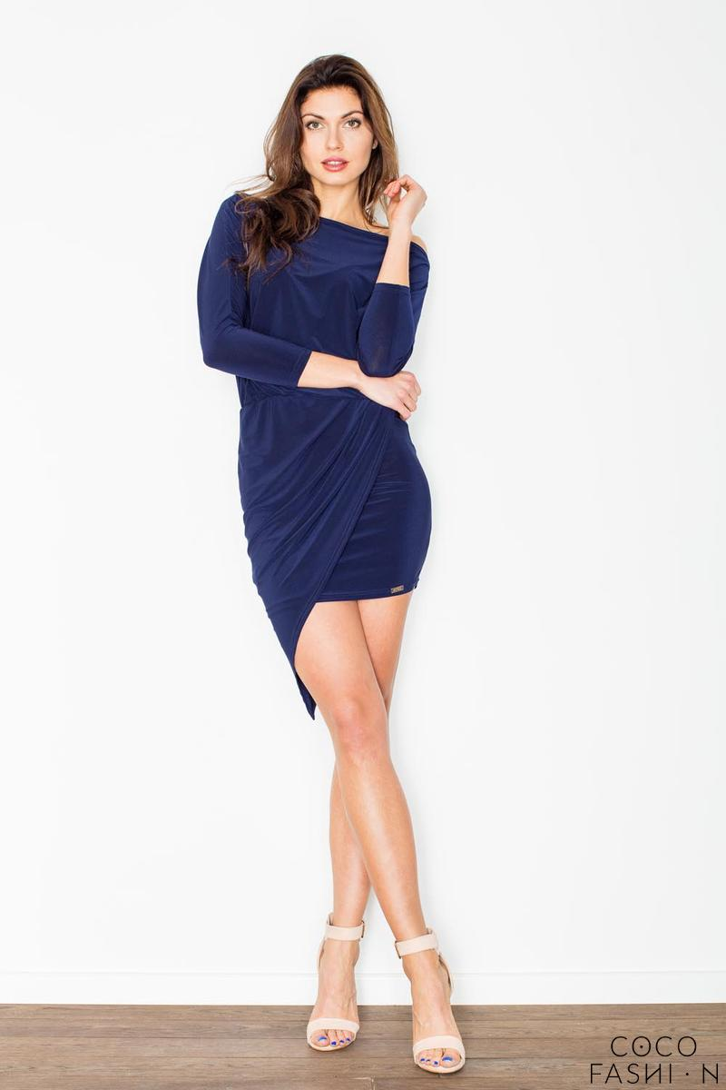 Dark Blue Asymetrical Mini Boat Neckline Dress