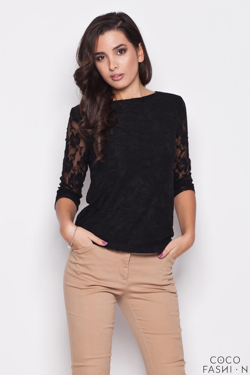 Black Bateau Neckline Floral Lace Blouse with 3/4 Sleeves