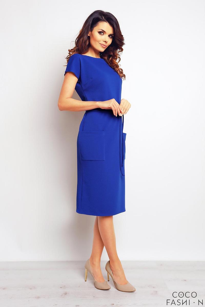 c51f3283cb05 Blue Casual Midi Dress with Big Pockets