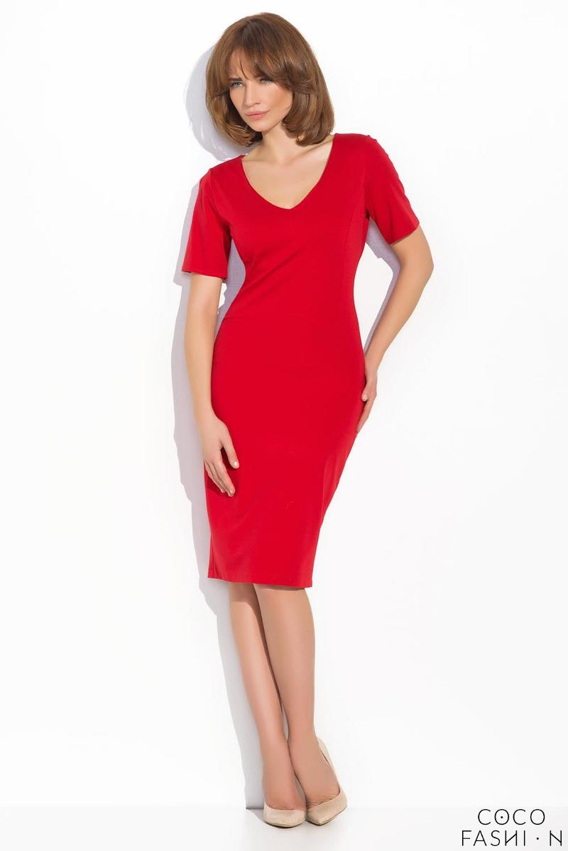 Red Classic Bodycon Fit V-Neckline Dress