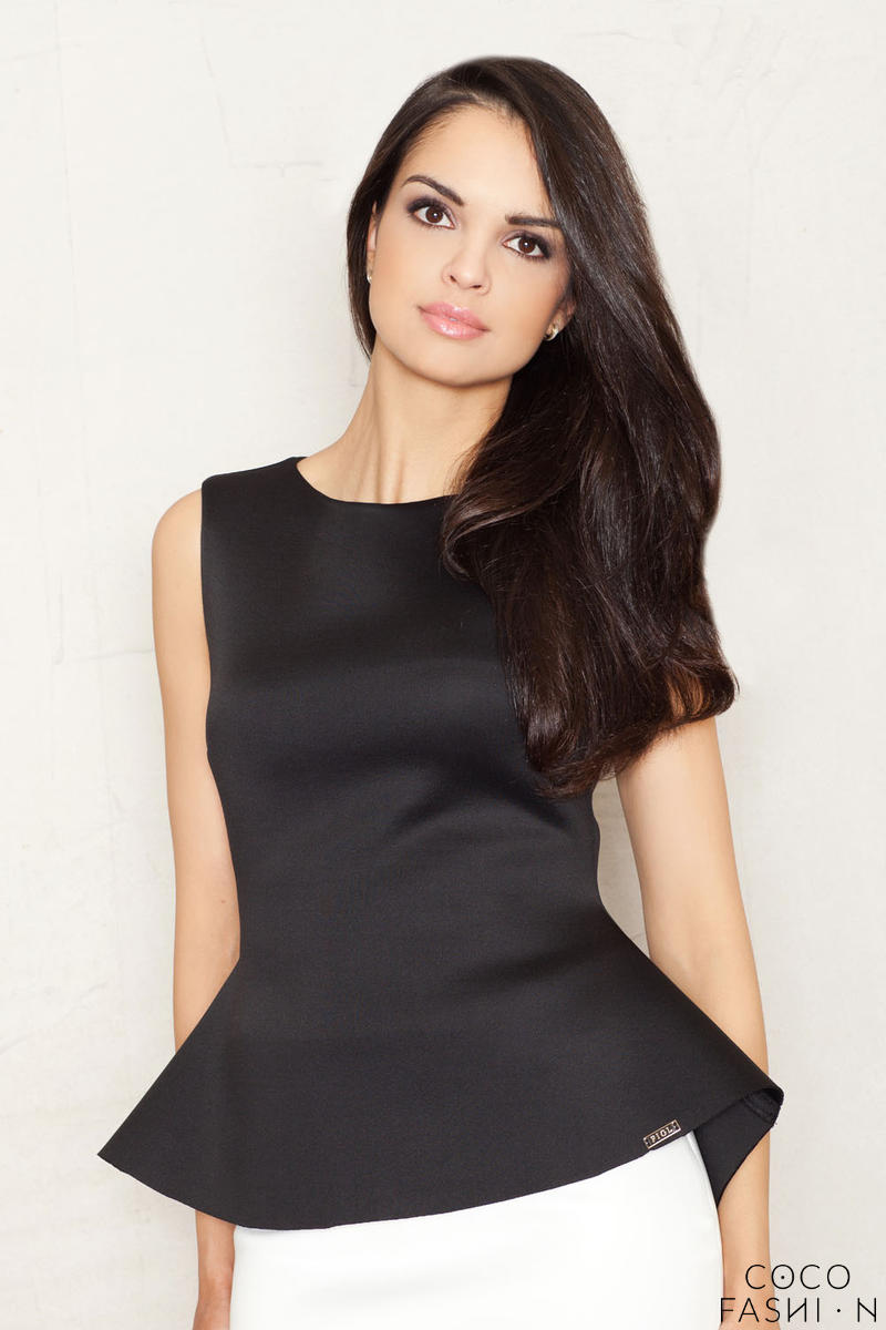 Flecked Black Peplum Blouse with Back Zipper Fastening