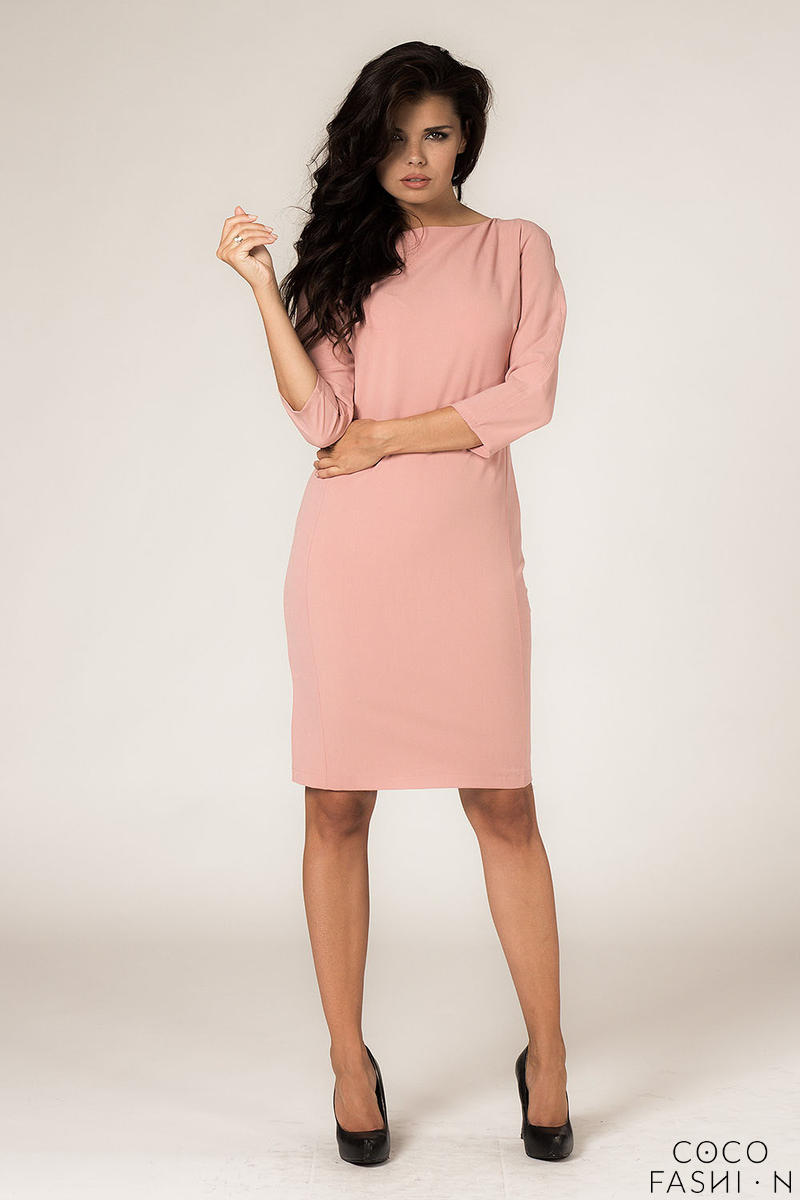 Powder Pink Seam Shift Dress with Back Zip Fastening от cocofashion