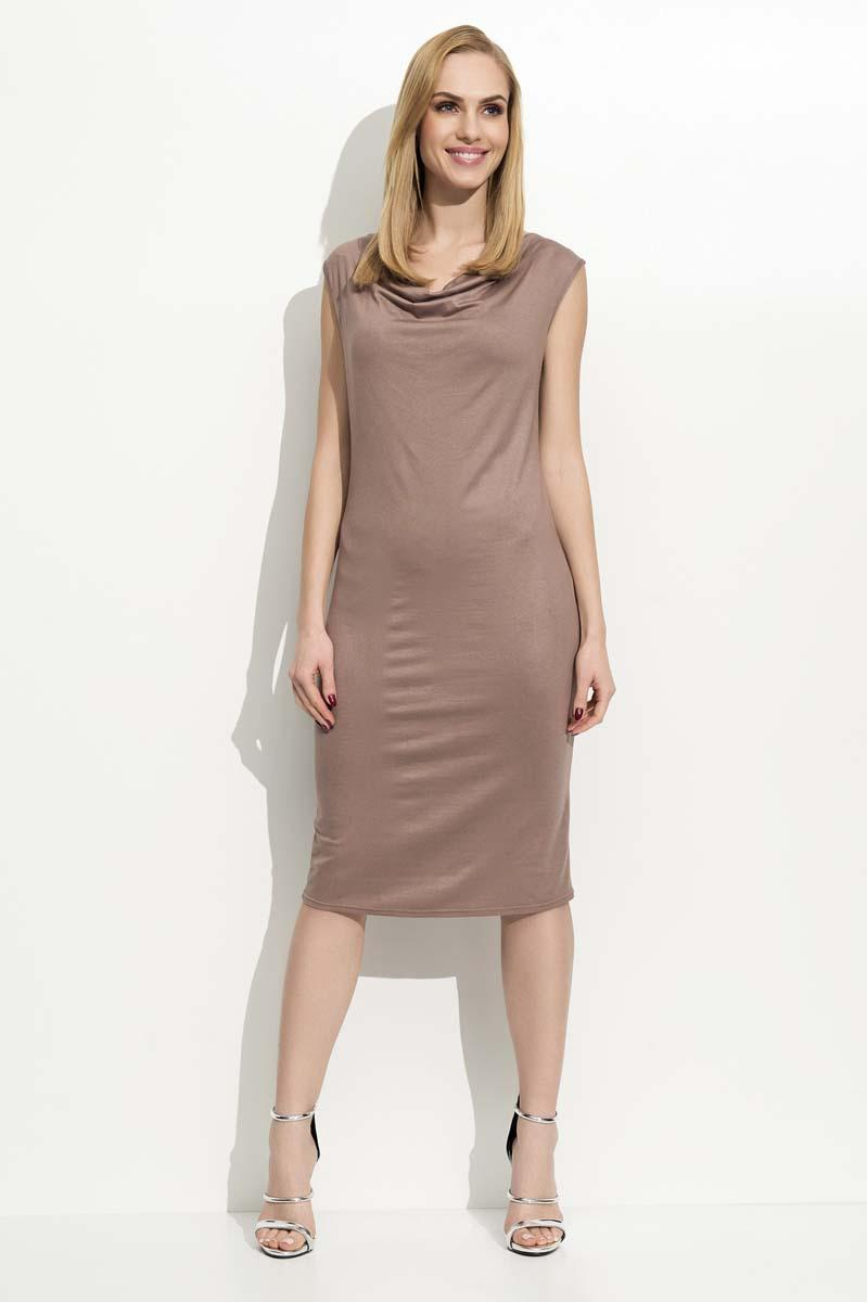 Cappuccino Slim Fit Midi Dress with Waterfall Style Neckline